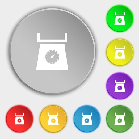 grams: kitchen scales icon sign. Symbols on eight flat buttons. Vector illustration Illustration