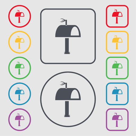 media distribution: Mailbox icon sign. Symbols on the Round and square buttons with frame. Vector illustration