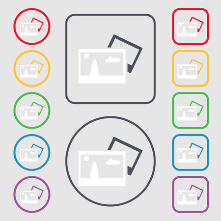 mime: Copy File JPG sign icon. Download image file symbol. Symbols on the Round and square buttons with frame. Vector illustration