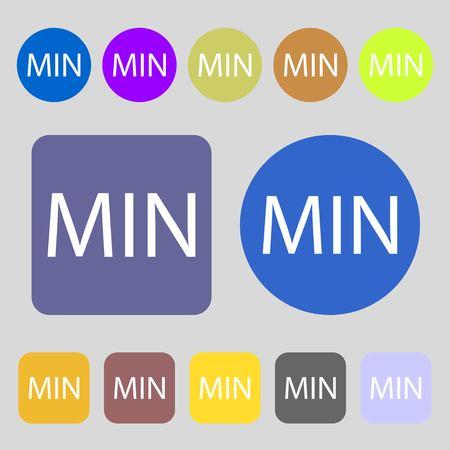 minimální: Minimální znamení icon.12 barevných tlačítek. Ploché provedení. Vektorové ilustrace