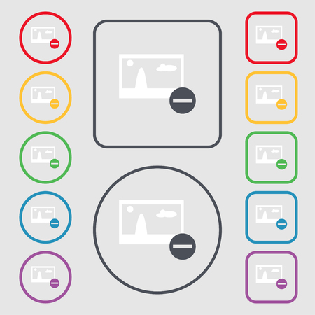 compression: Minus File JPG sign icon. Download image file symbol. Set colourful buttons. Symbols on the Round and square buttons with frame. Vector illustration