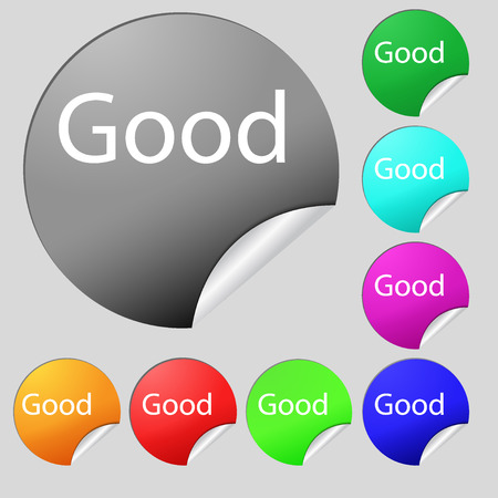goed teken: Good sign icon. Set of eight multi colored round buttons, stickers. Vector illustration