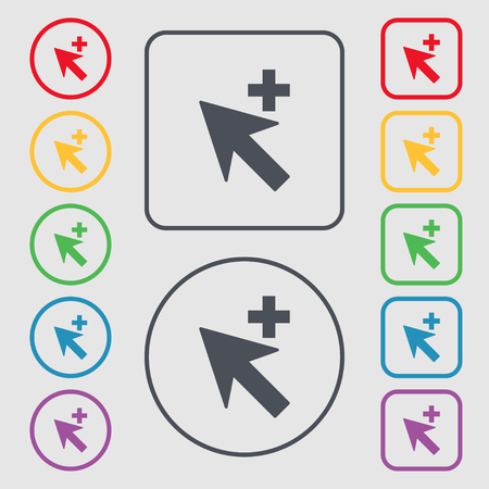 cursor arrow: Cursor, arrow plus, add icon sign. Symbols on the Round and square buttons with frame. Vector illustration
