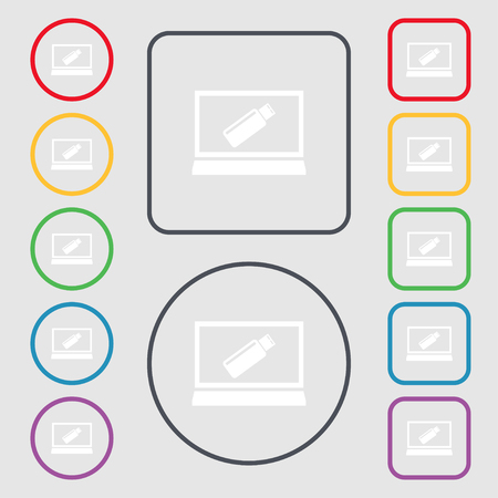 quality controller: usb flash drive and monitor sign icon. Video game symbol. Symbols on the Round and square buttons with frame. Vector illustration