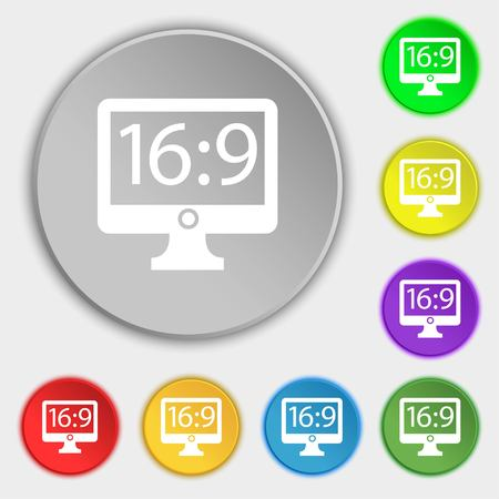 the ratio: Aspect ratio 16:9 widescreen tv icon sign. Symbols on eight flat buttons. Vector illustration Illustration