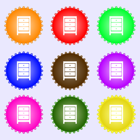 nightstand: Nightstand icon sign. A set of nine different colored labels. Vector illustration