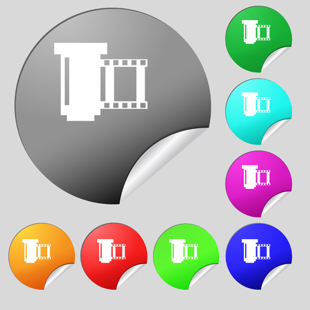 processed: negative films icon symbol.. Set of eight multi colored round buttons, stickers. Vector illustration Illustration