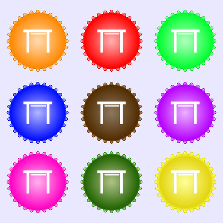 stool: stool seat icon sign. A set of nine different colored labels. Vector illustration Illustration