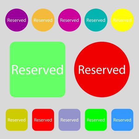 r�serv�: Reserved sign icon.12 colored buttons. Flat design. Vector illustration