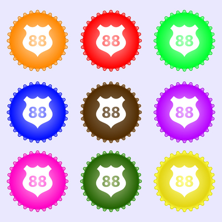 highway icon: Route 88 highway icon sign. A set of nine different colored labels. Vector illustration