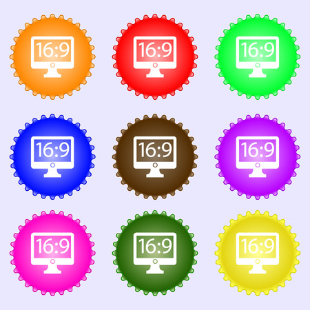 aspect: Aspect ratio 16:9 widescreen tv icon sign. A set of nine different colored labels. Vector illustration