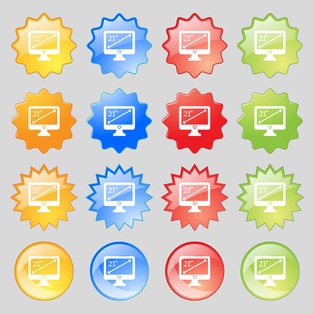 widescreen: diagonal of the monitor 21 inches icon sign. Big set of 16 colorful modern buttons for your design. Vector illustration Illustration