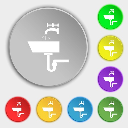 plating: Washbasin icon sign. Symbols on eight flat buttons. Vector illustration