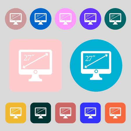 inches: diagonal of the monitor 27 inches icon sign.12 colored buttons. Flat design. Vector illustration