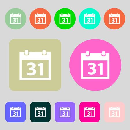 event planning: Calendar sign icon. 31 day month symbol. Date button.12 colored buttons. Flat design. Vector illustration