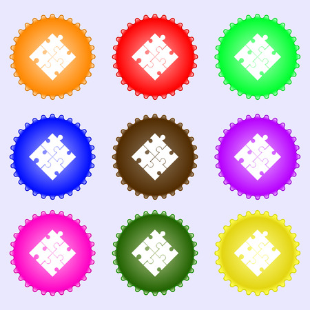 puzzle corners: Puzzle piece icon sign. A set of nine different colored labels. Vector illustration