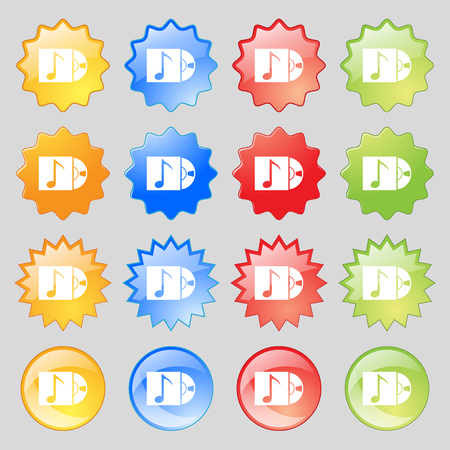 cd player: cd player icon sign. Big set of 16 colorful modern buttons for your design. Vector illustration