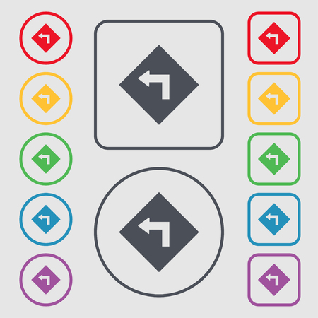 danger ahead: Road sign warning of dangerous left curve icon sign. Symbols on the Round and square buttons with frame. Vector illustration