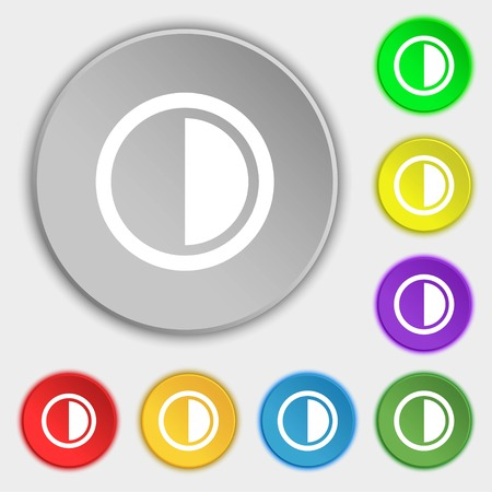 contraste: contrast icon sign. Symbols on eight flat buttons. Vector illustration