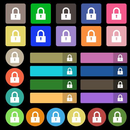 locker: Lock sign icon. Locker symbol. Set from twenty seven multicolored flat buttons. Vector illustration