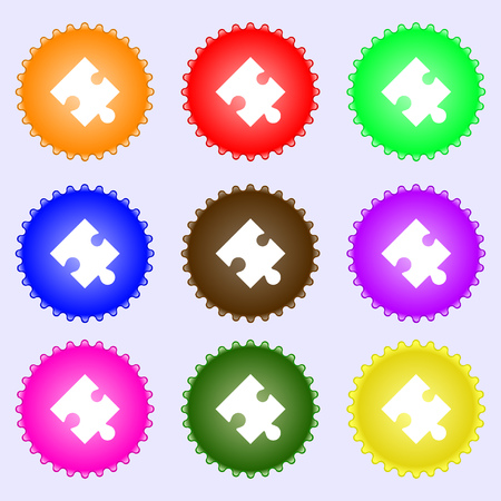 conundrum: Puzzle piece icon sign. A set of nine different colored labels. Vector illustration
