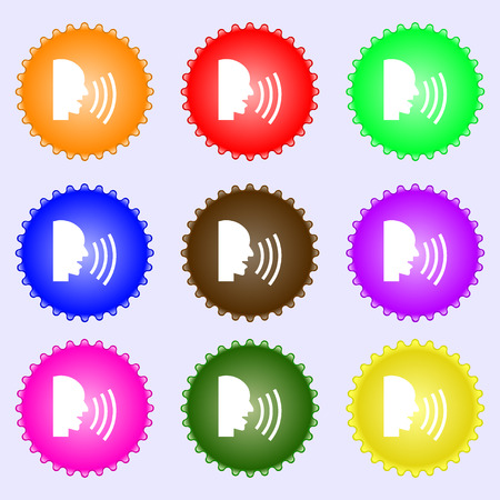 loudy: Talking Flat modern web icon. A set of nine different colored labels. Vector illustration