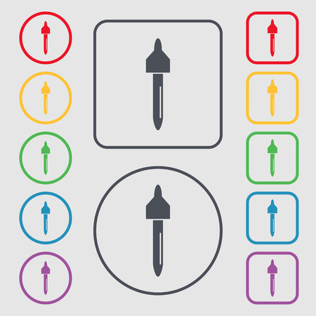 eye pipette: dropper sign icon. pipette symbol. Symbols on the Round and square buttons with frame. Vector illustration