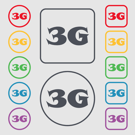 telecommunications technology: 3G sign icon. Mobile telecommunications technology symbol. Symbols on the Round and square buttons with frame. Vector illustration