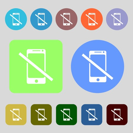 phone ban: Do not call. Smartphone signs icon. Support symbol.12 colored buttons. Flat design. Vector illustration