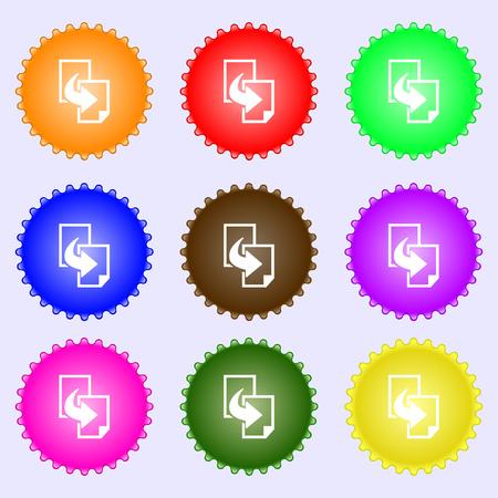 duplicate: Copy file sign icon. Duplicate document symbol. A set of nine different colored labels. Vector illustration Illustration