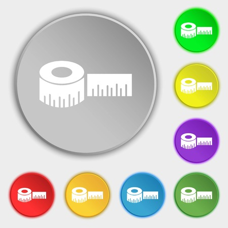 inches: Roulette construction icon sign. Symbols on eight flat buttons. Vector illustration Illustration