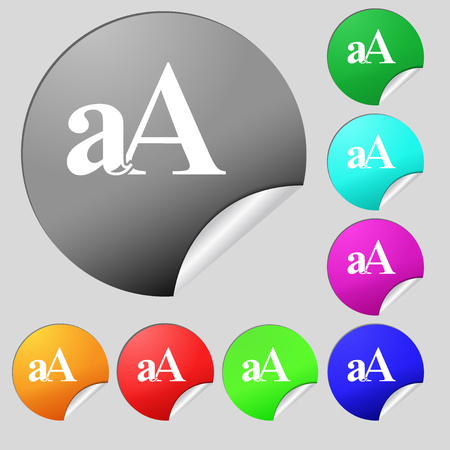 aa: Enlarge font, aA icon sign. Set of eight multi colored round buttons, stickers. Vector illustration