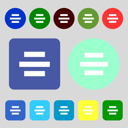 alignment: Center alignment icon sign.12 colored buttons. Flat design. Vector illustration