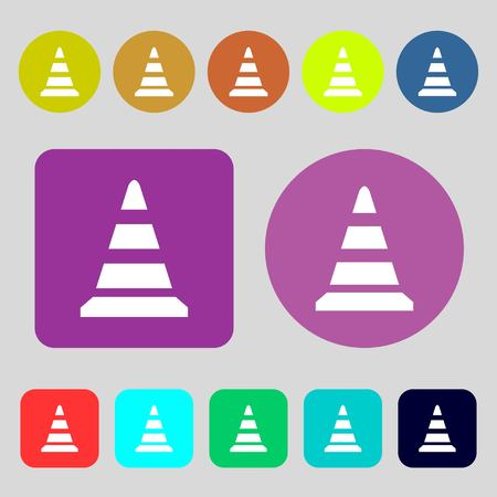 road cone icon.12 colored buttons. Flat design. Vector illustration