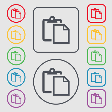 page long: Edit document sign icon. Symbols on the Round and square buttons with frame. Vector illustration Illustration