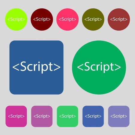 javascript: Script sign icon. Javascript code symbol.12 colored buttons. Flat design. Vector illustration