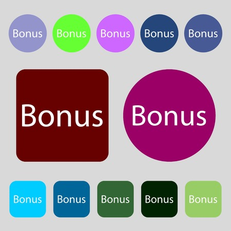 advantages: Bonus sign icon. Special offer label.12 colored buttons. Flat design. Vector illustration Illustration