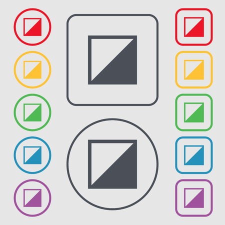 contraste: contrast icon sign. Symbols on the Round and square buttons with frame. Vector illustration