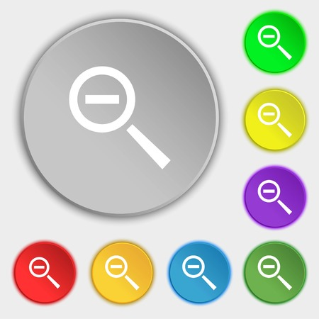 interface menu tool: Magnifier glass, Zoom tool icon sign. Symbols on eight flat buttons. Vector illustration