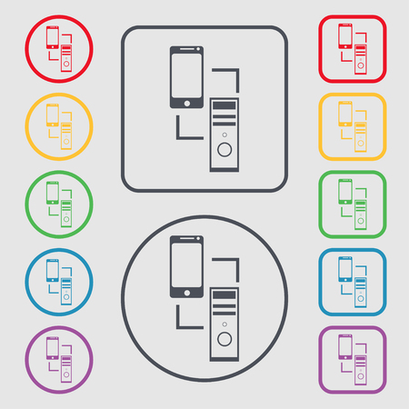 in sync: Synchronization sign icon. communicators sync symbol. Data exchange. Symbols on the Round and square buttons with frame. Vector illustration