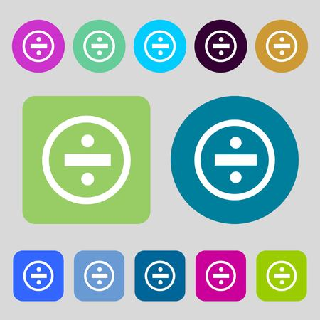 mathematical operation: dividing icon sign.12 colored buttons. Flat design. Vector illustration Illustration