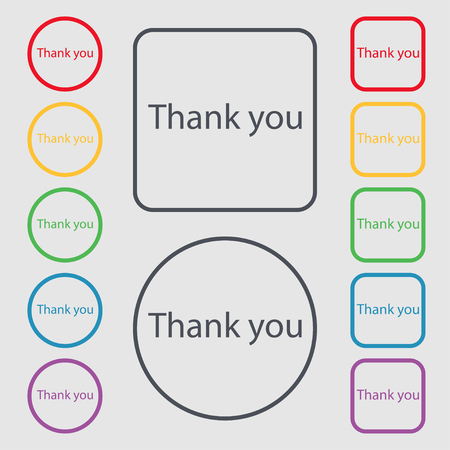 Thank you sign icon. Gratitude symbol. Symbols on the Round and square buttons with frame. Vector illustration Illustration