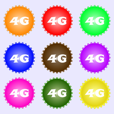 telecommunications technology: 4G sign icon. Mobile telecommunications technology symbol. A set of nine different colored labels. Vector illustration Illustration
