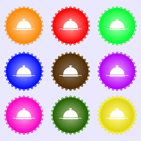 table setting: Food platter serving sign icon. Table setting in restaurant symbol. A set of nine different colored labels. Vector illustration Illustration