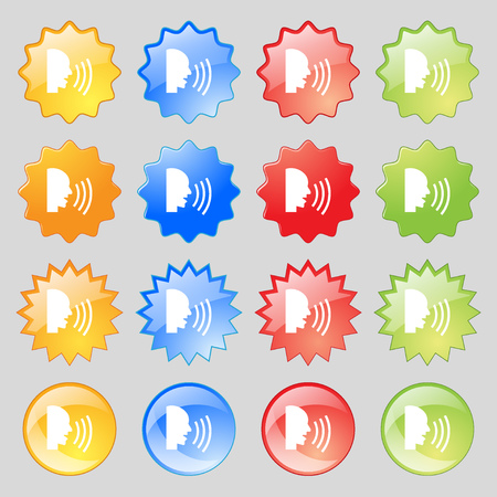 loudy: Talking Flat modern web icon. Big set of 16 colorful modern buttons for your design. Vector illustration