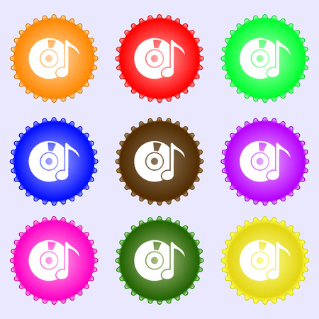 cdr: CD or DVD icon sign. A set of nine different colored labels. Vector illustration