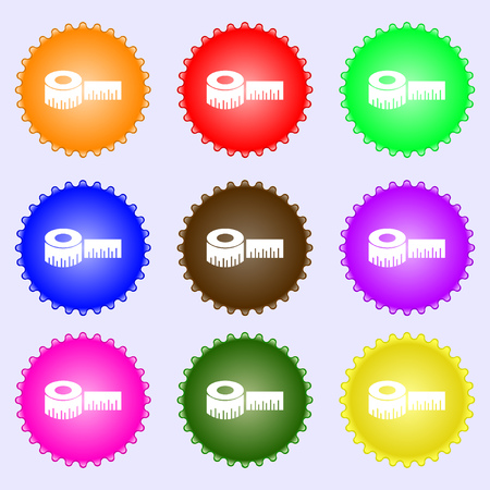 inches: Roulette construction icon sign. A set of nine different colored labels. Vector illustration Illustration