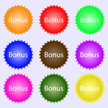 top class: Bonus sign icon. Special offer label. A set of nine different colored labels. Vector illustration
