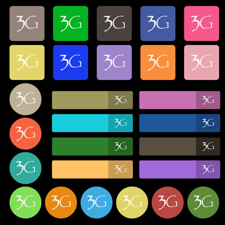 3g: 3G sign icon. Mobile telecommunications technology symbol. Set from twenty seven multicolored flat buttons. Vector illustration