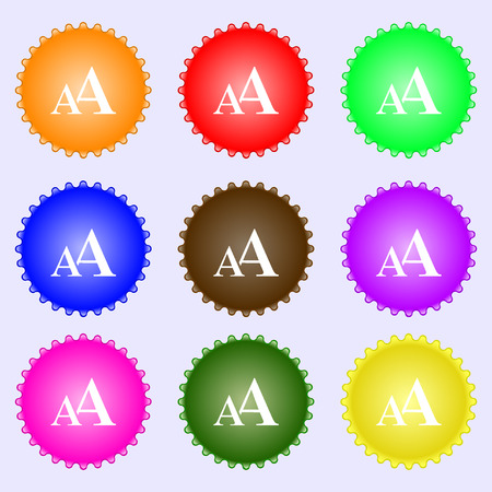 enlarge: Enlarge font, AA icon sign. A set of nine different colored labels. Vector illustration
